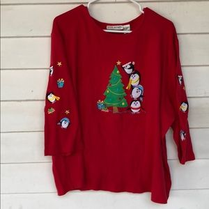 Ugly Christmas vintage red 3/4 sleeve penguins